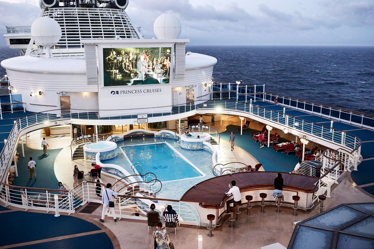 Princess Cruises swimming pool and movie screen 1